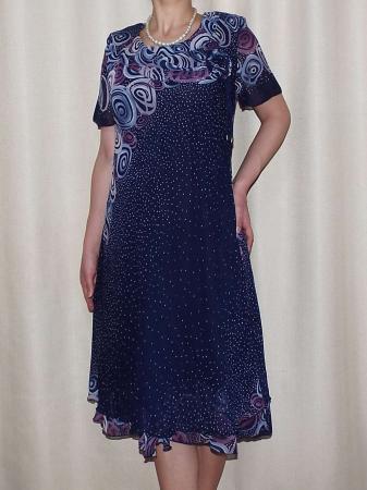 Rochie din voal cu imprimeu si brosa nedetasabila- Eliana Buline [0]