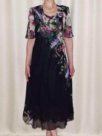 Rochie din voal cu imprimeu si maneca scurta - Victoria Negru0