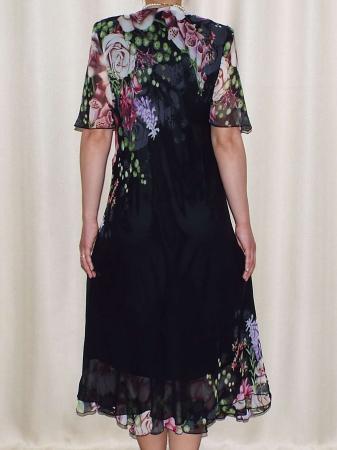 Rochie din voal cu imprimeu si maneca scurta - Victoria Negru1