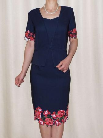 Rochie eleganta bleumarin cu imprimeu floral - Luminita0