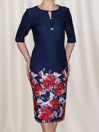 Rochie eleganta bleumarin cu imprimeu floral - Melania Grena0