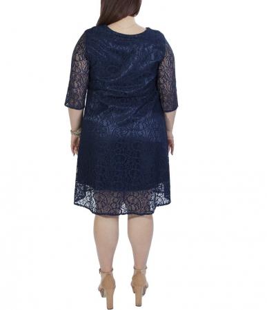Rochie eleganta bleumarin din dantela cu croi lejer - Amy1