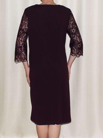 Rochie eleganta cu accesoriu la baza gatului - Catalina Mov Pruna1