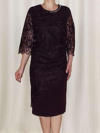 Rochie eleganta cu accesoriu la baza gatului - Catalina Mov Pruna0