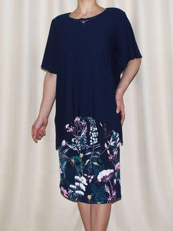 Rochie eleganta cu imprimeu si maneca scurta - Medeea Bleumarin [0]