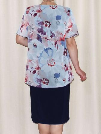 Rochie eleganta cu maneca scurta si imprimeu floral - Erika Bleumarin [2]