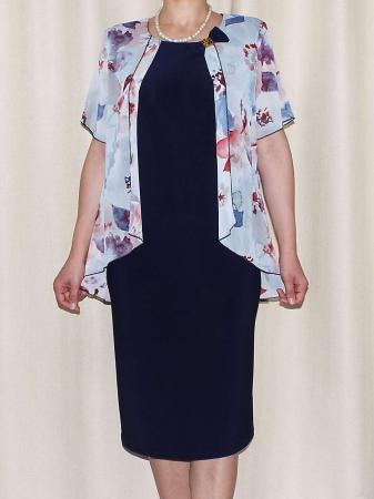 Rochie eleganta cu maneca scurta si imprimeu floral - Erika Bleumarin [1]