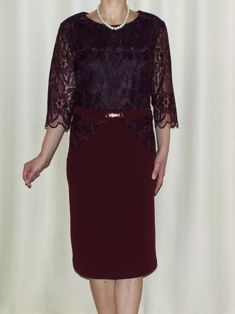 Rochie eleganta cu maneca trei sferturi - Narcisa Visiniu0