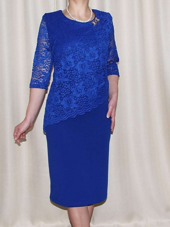 Rochie eleganta cu maneca trei sferturi - Octavia Albastru0