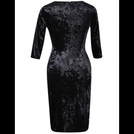 Rochie eleganta cu maneca trei sferturi si colier - Ravi Negru [2]
