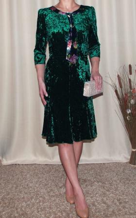 Rochie eleganta din catifea cu esarfa nedetasabila - Margot verde0