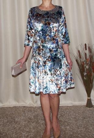 Rochie eleganta din catifea cu imprimeu floral - Dalia Gri0