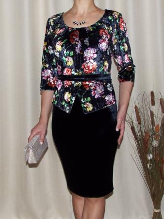 Rochie eleganta din catifea cu imprimeu floral - Hara Negru0