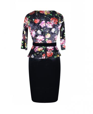 Rochie eleganta din catifea cu imprimeu floral - Hara Negru2