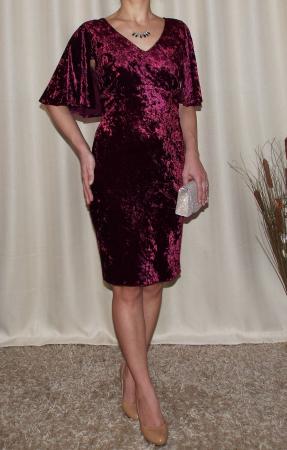 Rochie eleganta din catifea cu maneca scurta - Agnes1