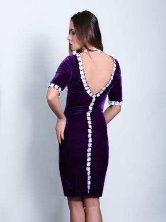 Rochie eleganta din catifea mov cu spate gol - Ryta1