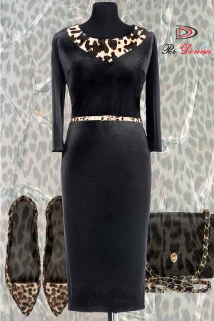 Rochie eleganta din catifea neagra cu insertii animal print - ALLY1