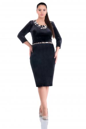 Rochie eleganta din catifea neagra cu insertii animal print - ALLY0