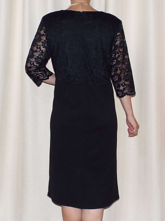 Rochie eleganta din crep elastic si dantela - Cecilia Negru [2]