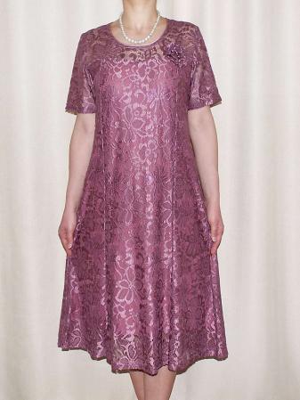 Rochie eleganta din dantela cu brosa detasabila - Amelia [0]