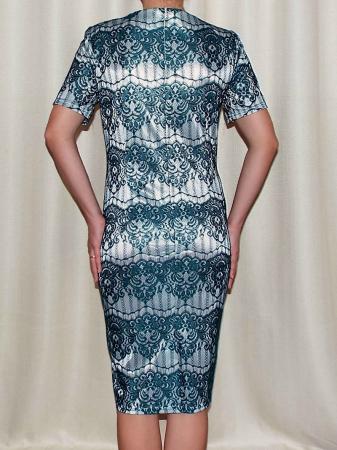 Rochie eleganta din dantela cu maneca scurta - Ivona Turcoaz1