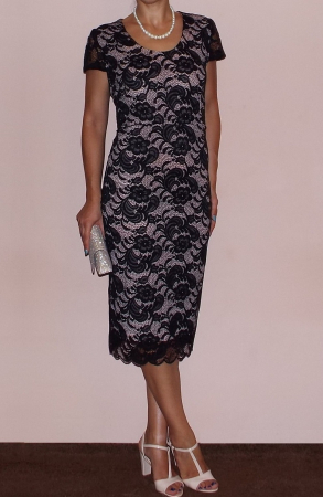 Rochie eleganta din dantela cu maneca scurta - Vega Crem [1]