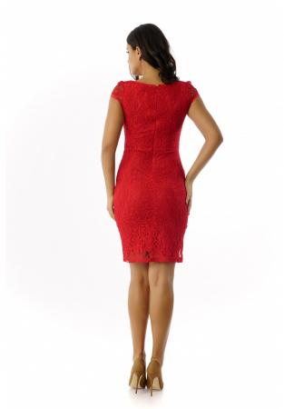 Rochie eleganta din dantela rosie cu maneca scurta– R340R1