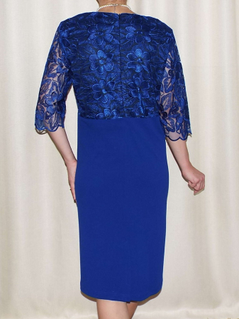Rochie eleganta din dantela si crep - Narcisa Albastru [1]