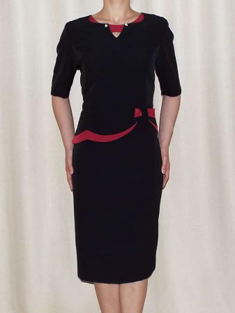 Rochie eleganta din stofa cu funda grena - Luiza negru0