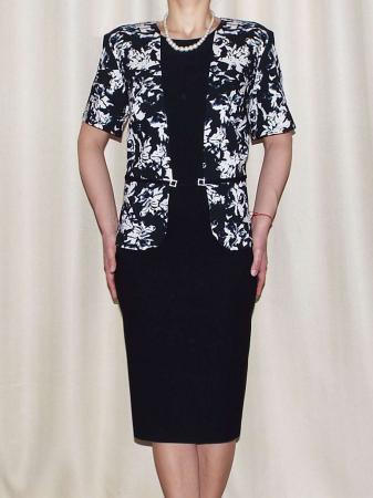 Rochie eleganta din stofa cu maneca scurta - Olivia Negru0