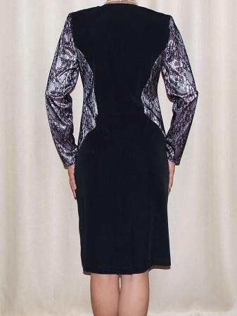 Rochie eleganta din stofa si dantela - Amira Negru1