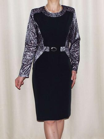 Rochie eleganta din stofa si dantela - Amira Negru0