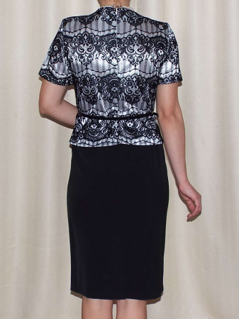 Rochie eleganta din stofa si dantela - Casiana Negru [1]