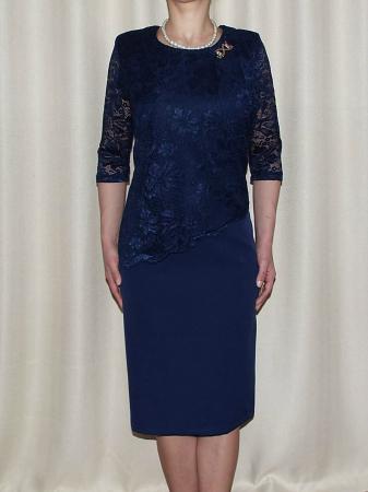 Rochie eleganta din stofa si dantela - Octavia Bleumarin0