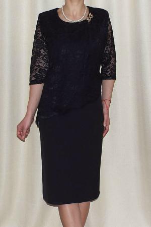 Rochie eleganta din stofa si dantela - Octavia Negru1