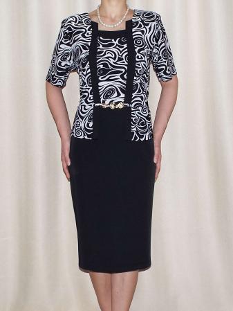 Rochie eleganta din stofa si vascoza cu accesoriu - Luciana0