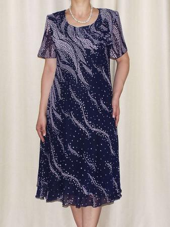 Rochie eleganta din voal bleumarin cu imprimeu  - Alexandra 7 [0]