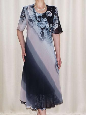 Rochie eleganta din voal cu brosa detasabila - Victoria Floral0