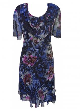 Rochie eleganta din voal cu imprimeu floral - Flavia Albastru1