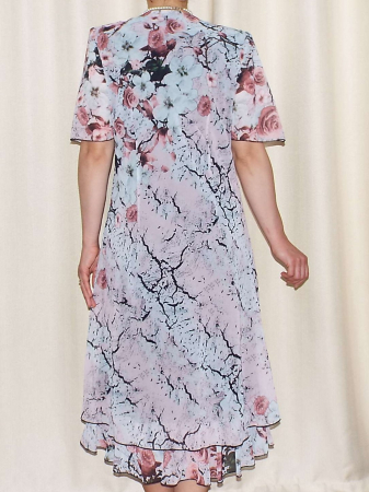 Rochie eleganta din voal cu imprimeu floral si brosa - Victoria 11 [1]