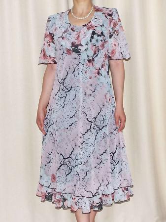 Rochie eleganta din voal cu imprimeu floral si brosa - Victoria 11 [2]