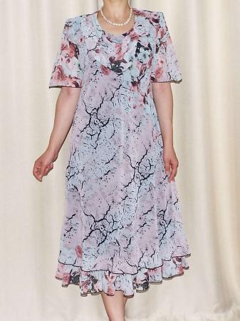 Rochie eleganta din voal cu imprimeu floral si brosa - Victoria 11 [0]