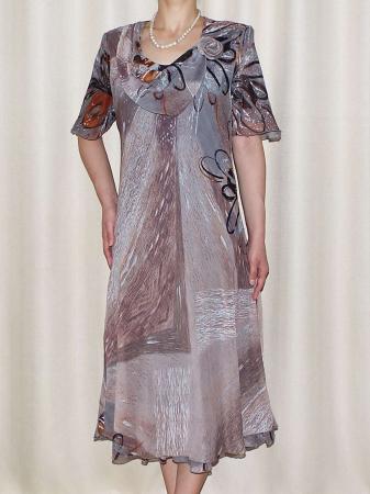Rochie eleganta din voal cu imprimeu - Victoria Gri0