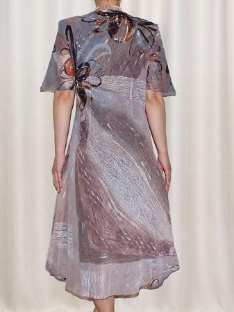 Rochie eleganta din voal cu imprimeu - Victoria Gri1
