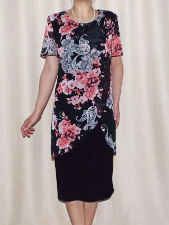 Rochie eleganta din voal imprimat si vascoza - Ruxandra Floral0