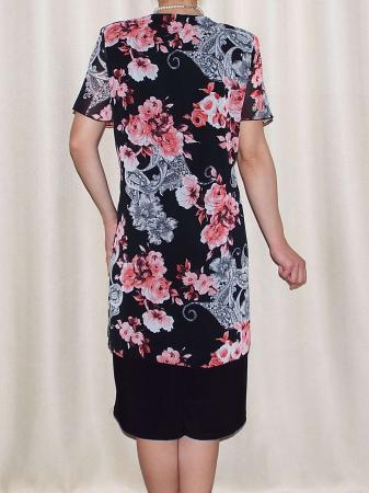 Rochie eleganta din voal imprimat si vascoza - Ruxandra Floral1