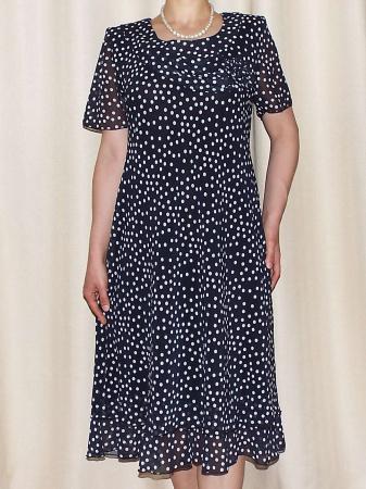 Rochie eleganta din voal negru cu buline albe - Alexandra 2 [2]
