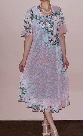 Rochie eleganta din voal roz pudra cu imprimeu - Flavia Floral0