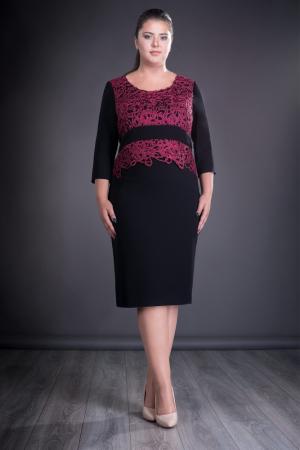 Rochie eleganta neagra cu dantela macrame grena - Jordan0