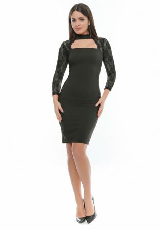 Rochie eleganta neagra din jerse si dantela - R571 [0]